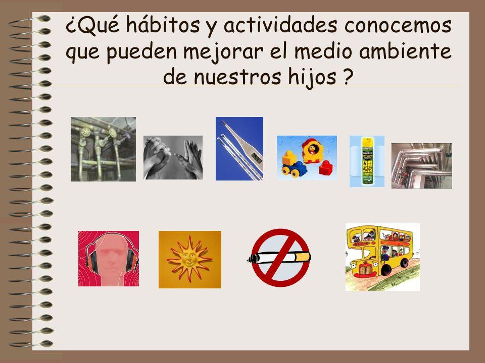 ¿Qué hábitos y actividades conocemos que pueden mejorar el medio ambiente de nuestros hijos ?