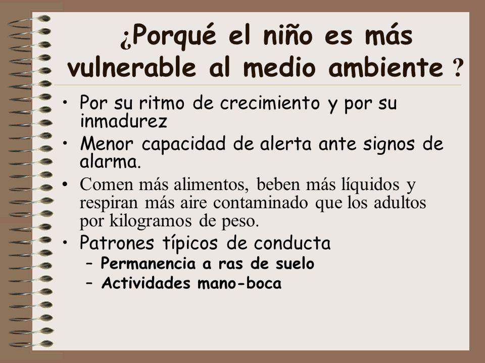 ¿ Porqué el niño es más vulnerable al medio ambiente ? Por su ritmo de crecimiento y por su inmadurez Menor capacidad de alerta ante signos de alarma.