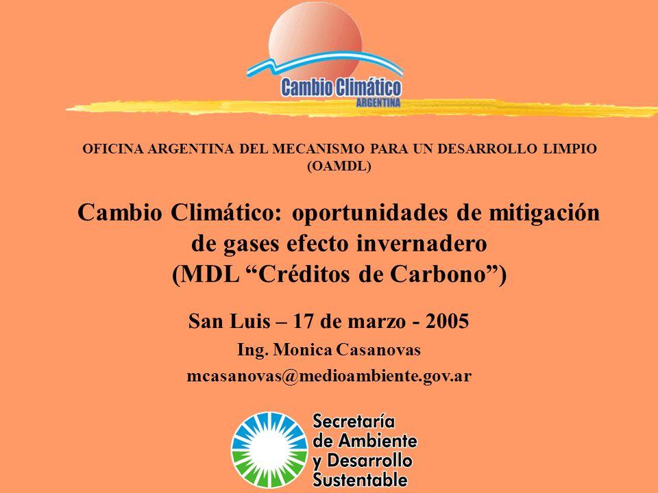 OFICINA ARGENTINA DEL MECANISMO PARA UN DESARROLLO LIMPIO (OAMDL) Cambio Climático: oportunidades de mitigación de gases efecto invernadero (MDL Crédi