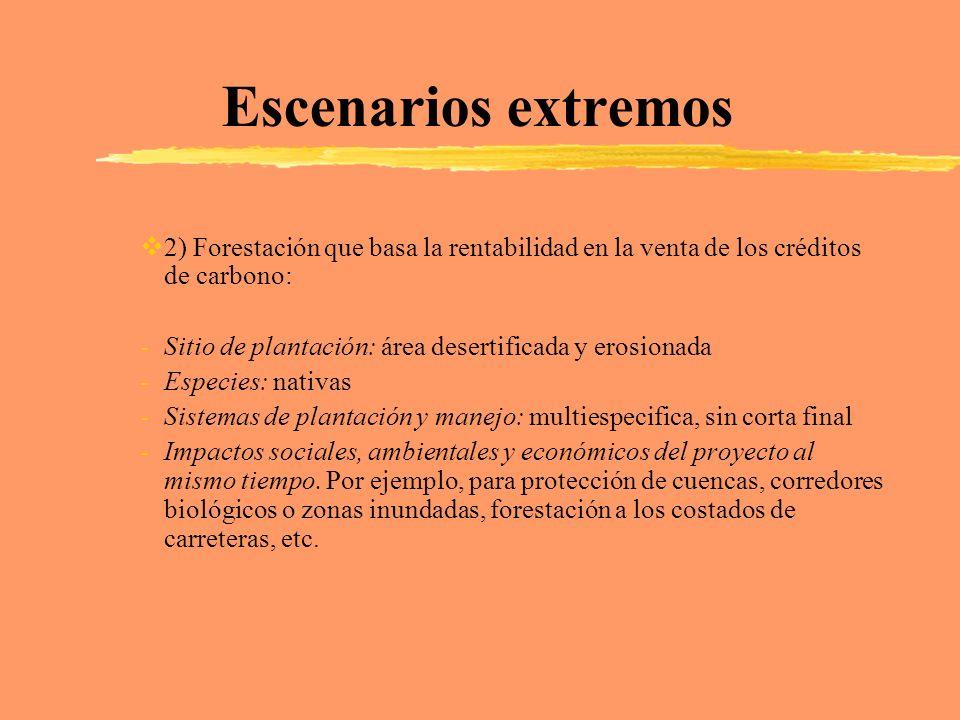 Escenarios extremos 2) Forestación que basa la rentabilidad en la venta de los créditos de carbono: -Sitio de plantación: área desertificada y erosion