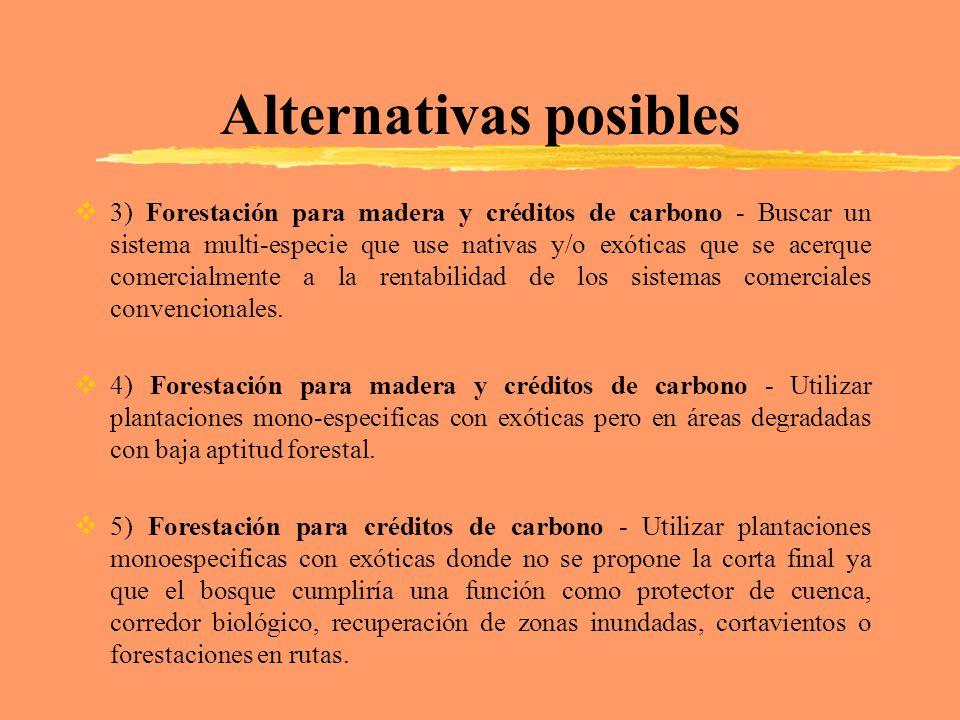 Alternativas posibles 3) Forestación para madera y créditos de carbono - Buscar un sistema multi-especie que use nativas y/o exóticas que se acerque c