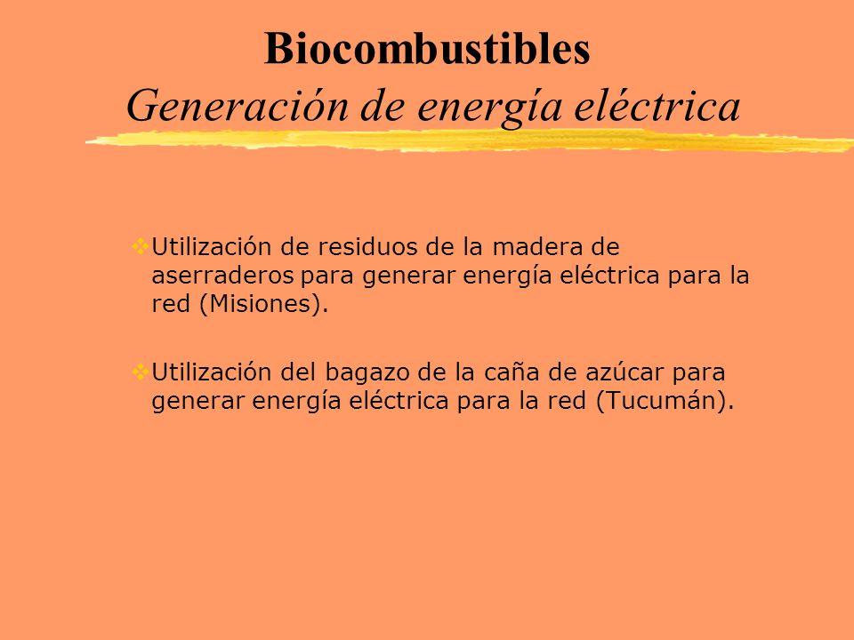 Biocombustibles Generación de energía eléctrica Utilización de residuos de la madera de aserraderos para generar energía eléctrica para la red (Mision