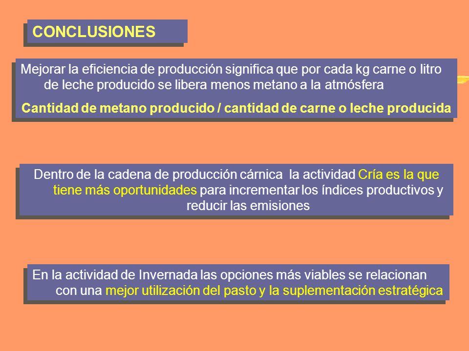 CONCLUSIONES Mejorar la eficiencia de producción significa que por cada kg carne o litro de leche producido se libera menos metano a la atmósfera Cant