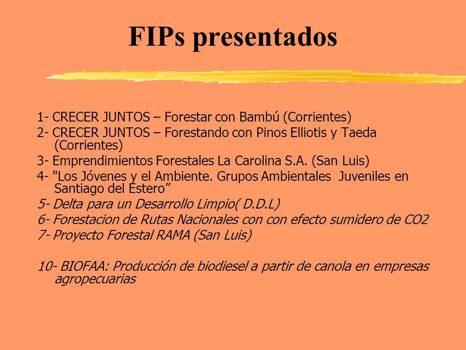 FIPs presentados 1- CRECER JUNTOS – Forestar con Bambú (Corrientes) 2- CRECER JUNTOS – Forestando con Pinos Elliotis y Taeda (Corrientes) 3- Emprendim