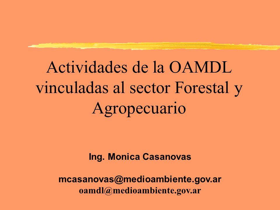 Actividades de la OAMDL vinculadas al sector Forestal y Agropecuario Ing. Monica Casanovas mcasanovas@medioambiente.gov.ar oamdl@medioambiente.gov.ar