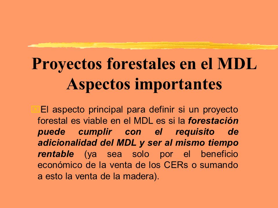 Proyectos forestales en el MDL Aspectos importantes xEl aspecto principal para definir si un proyecto forestal es viable en el MDL es si la forestació