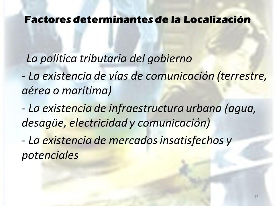 Factores determinantes de la Localización - La política tributaria del gobierno - La existencia de vías de comunicación (terrestre, aérea o marítima)