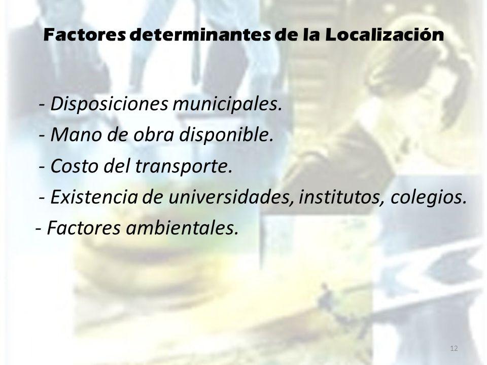 Factores determinantes de la Localización - Disposiciones municipales. - Mano de obra disponible. - Costo del transporte. - Existencia de universidade