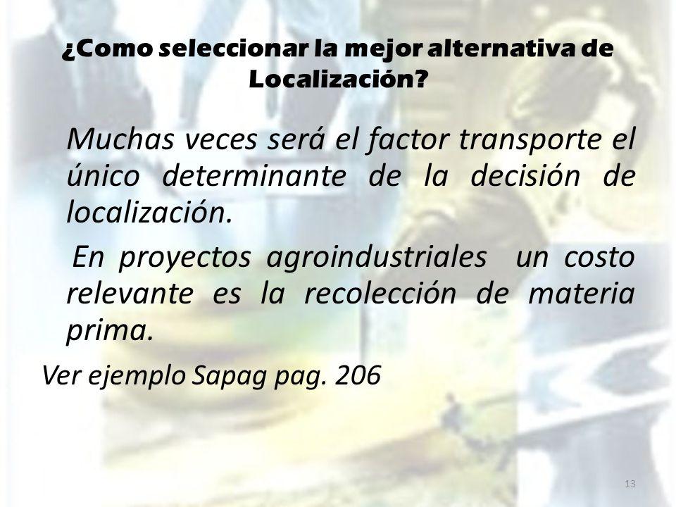 ¿Como seleccionar la mejor alternativa de Localización? Muchas veces será el factor transporte el único determinante de la decisión de localización. E