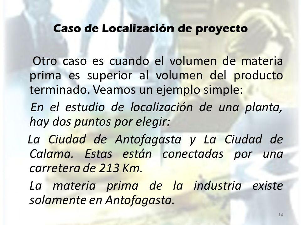 Caso de Localización de proyecto Otro caso es cuando el volumen de materia prima es superior al volumen del producto terminado. Veamos un ejemplo simp