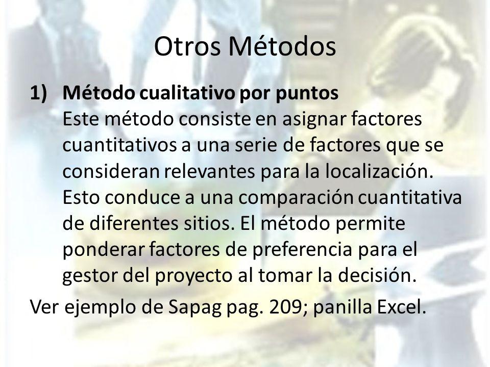 Otros Métodos 1)Método cualitativo por puntos Este método consiste en asignar factores cuantitativos a una serie de factores que se consideran relevan
