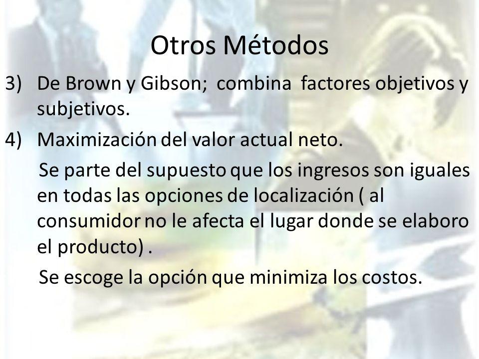 Otros Métodos 3) De Brown y Gibson; combina factores objetivos y subjetivos. 4)Maximización del valor actual neto. Se parte del supuesto que los ingre