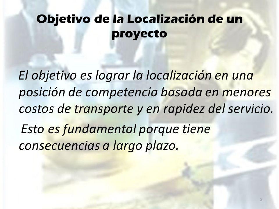 Objetivo de la Localización de un proyecto El objetivo es lograr la localización en una posición de competencia basada en menores costos de transporte