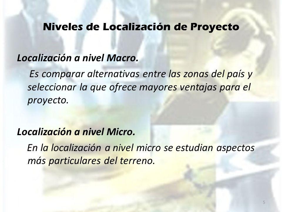 Niveles de Localización de Proyecto Factores importantes a Nivel Macro Costo de Transporte de Insumos y Productos Se trata de determinar si, la localización quedara cerca de los insumos o del mercado.