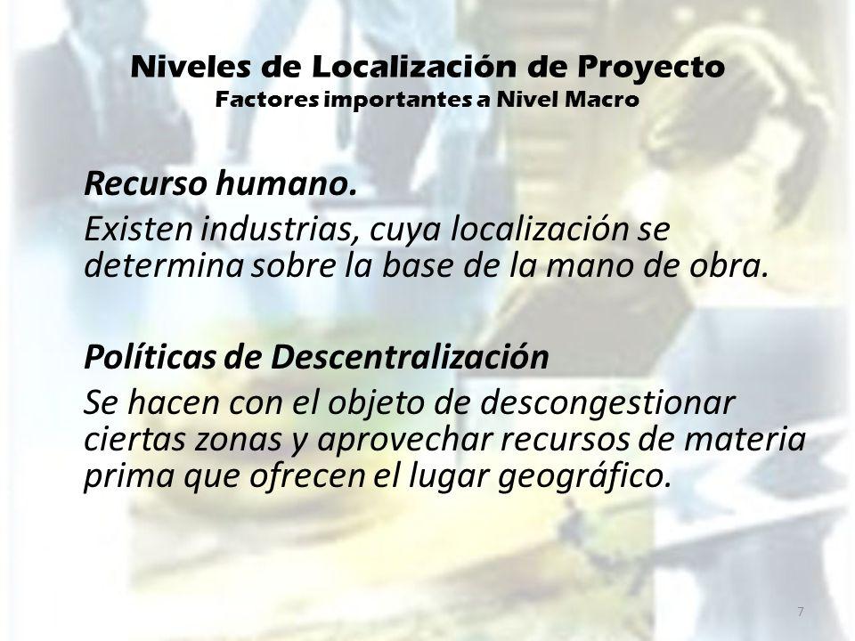 Niveles de Localización de Proyecto Factores importantes a Nivel Macro Recurso humano. Existen industrias, cuya localización se determina sobre la bas