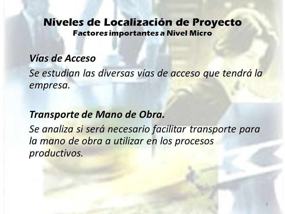 Niveles de Localización de Proyecto Factores importantes a Nivel Micro Energía Eléctrica Es uno de los factores mas importantes para localizar la planta y es preferible ubicarla cerca de la fuente de energía.