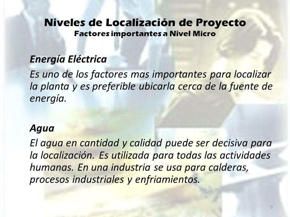 Niveles de Localización de Proyecto Factores importantes a Nivel Micro Valor y disponibilidad de Terreno Topografía de suelos Calidad de mano de obra Comunicaciones Posibilidad de desprenderse de desechos.