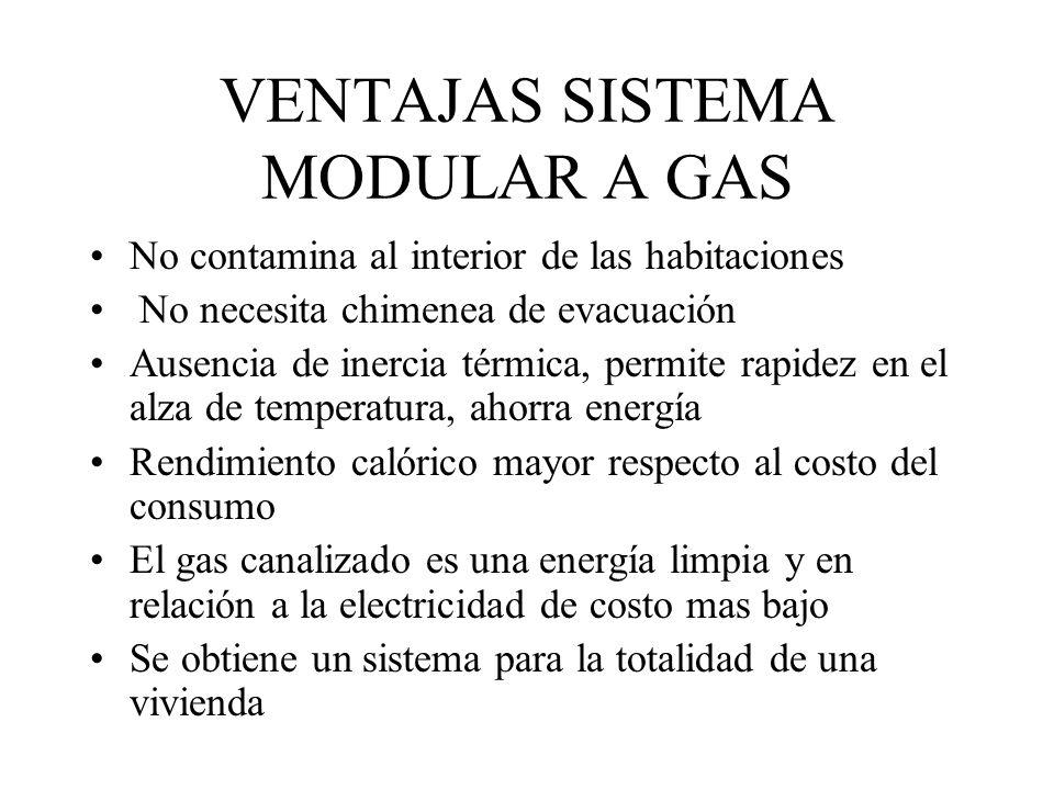 VENTAJAS SISTEMA MODULAR A GAS No contamina al interior de las habitaciones No necesita chimenea de evacuación Ausencia de inercia térmica, permite ra