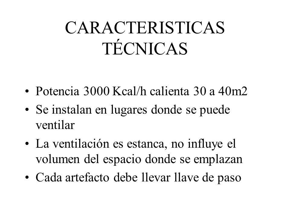CARACTERISTICAS TÉCNICAS Potencia 3000 Kcal/h calienta 30 a 40m2 Se instalan en lugares donde se puede ventilar La ventilación es estanca, no influye
