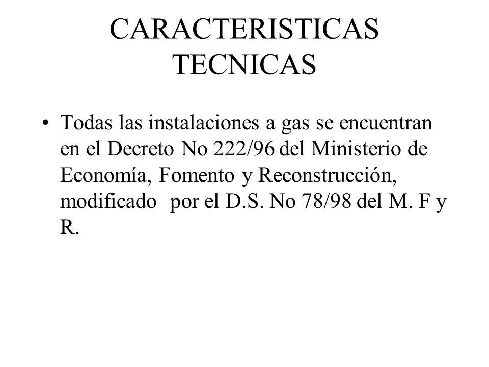 CARACTERISTICAS TECNICAS Todas las instalaciones a gas se encuentran en el Decreto No 222/96 del Ministerio de Economía, Fomento y Reconstrucción, mod