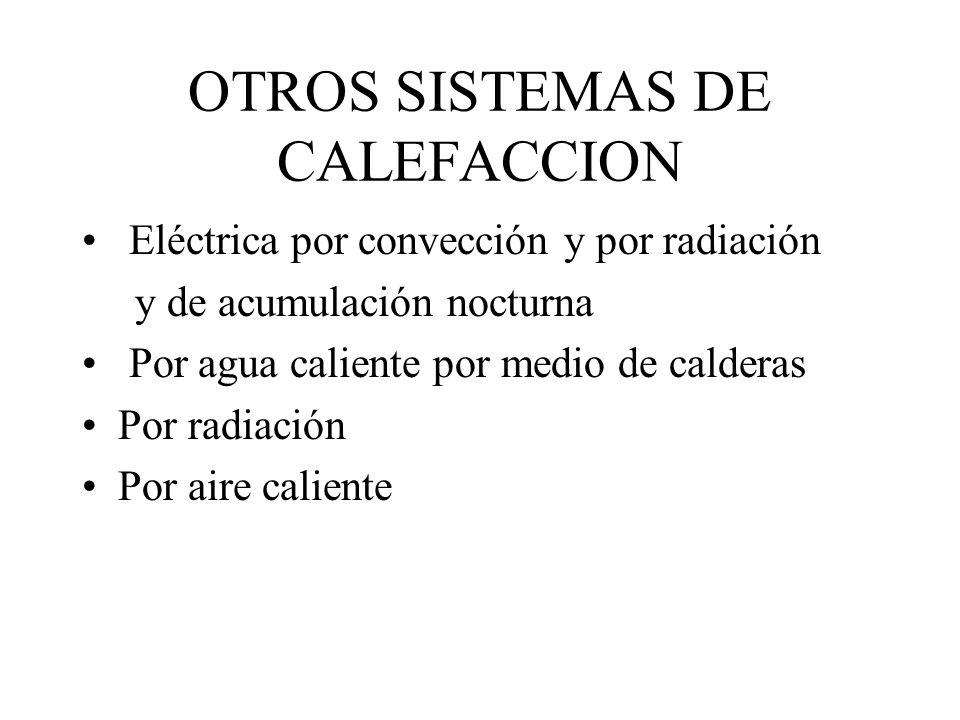 OTROS SISTEMAS DE CALEFACCION Eléctrica por convección y por radiación y de acumulación nocturna Por agua caliente por medio de calderas Por radiación