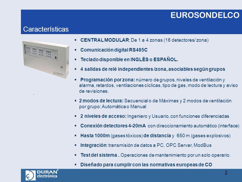 EUROSONDELCO. CENTRAL MODULAR: De 1 a 4 zonas (16 detectores/ zona) Comunicación digital RS485C Teclado disponible en INGLÉS o ESPAÑOL. 4 salidas de r