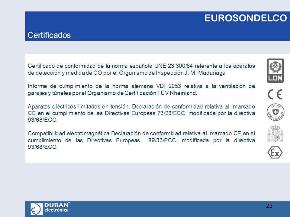 EUROSONDELCO Certificado de conformidad de la norma española UNE 23.300/84 referente a los aparatos de detección y medida de CO por el Organismo de In