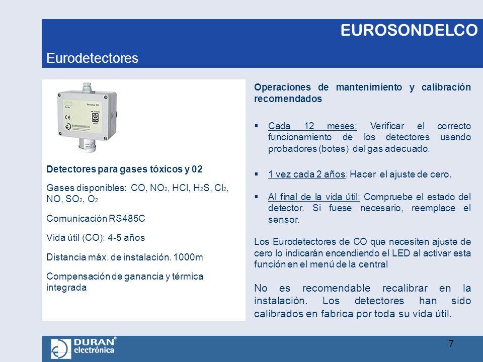 EUROSONDELCO Detectores para gases tóxicos y 02 Gases disponibles: CO, NO 2, HCl, H 2 S, Cl 2, NO, SO 2, O 2 Comunicación RS485C Vida útil (CO): 4-5 a