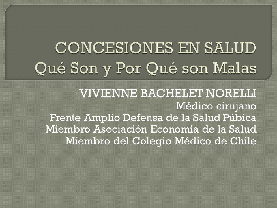 VIVIENNE BACHELET NORELLI Médico cirujano Frente Amplio Defensa de la Salud Púbica Miembro Asociación Economía de la Salud Miembro del Colegio Médico de Chile