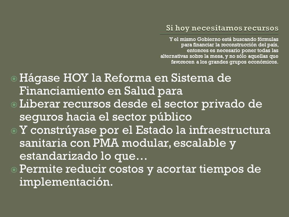 Y el mismo Gobierno está buscando fórmulas para financiar la reconstrucción del país, entonces es necesario poner todas las alternativas sobre la mesa, y no sólo aquellas que favorecen a los grandes grupos económicos.