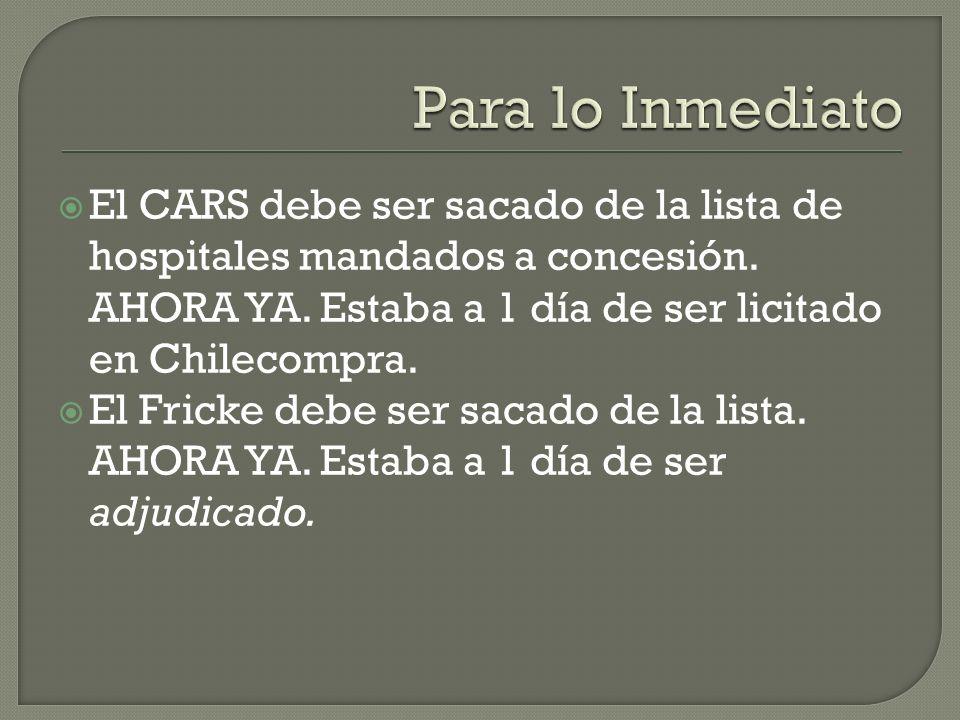 El CARS debe ser sacado de la lista de hospitales mandados a concesión.