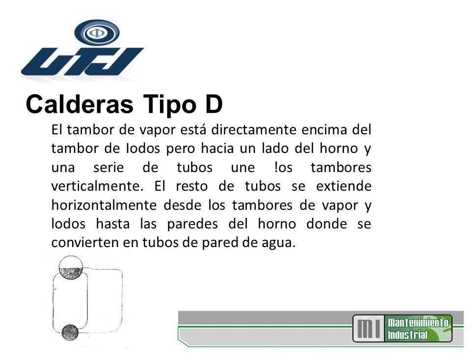 Calderas Tipo D El tambor de vapor está directamente encima del tambor de Iodos pero hacia un lado del horno y una serie de tubos une !os tambores ver