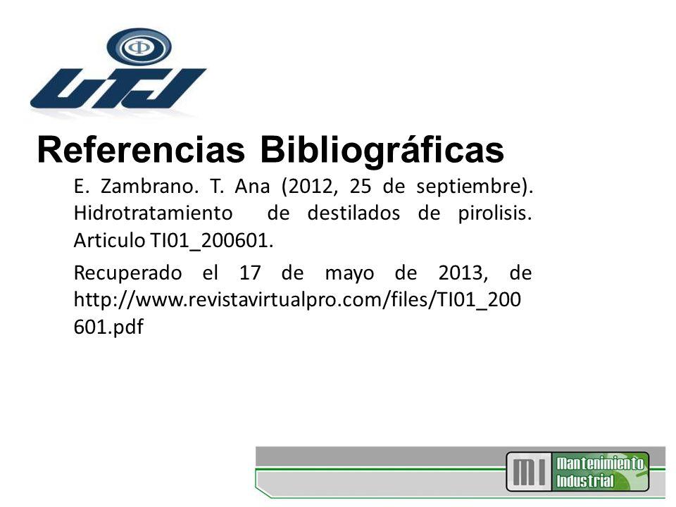 Referencias Bibliográficas E. Zambrano. T. Ana (2012, 25 de septiembre). Hidrotratamiento de destilados de pirolisis. Articulo TI01_200601. Recuperado
