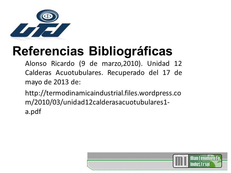Referencias Bibliográficas Alonso Ricardo (9 de marzo,2010). Unidad 12 Calderas Acuotubulares. Recuperado del 17 de mayo de 2013 de: http://termodinam