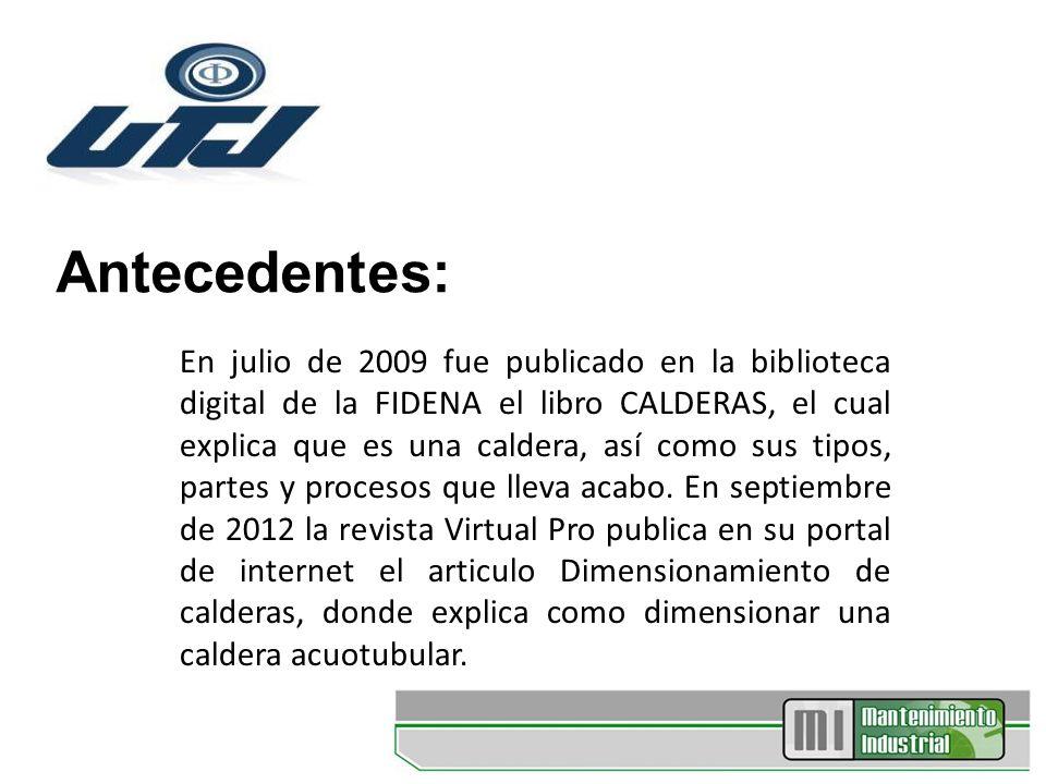 Antecedentes: En julio de 2009 fue publicado en la biblioteca digital de la FIDENA el libro CALDERAS, el cual explica que es una caldera, así como sus