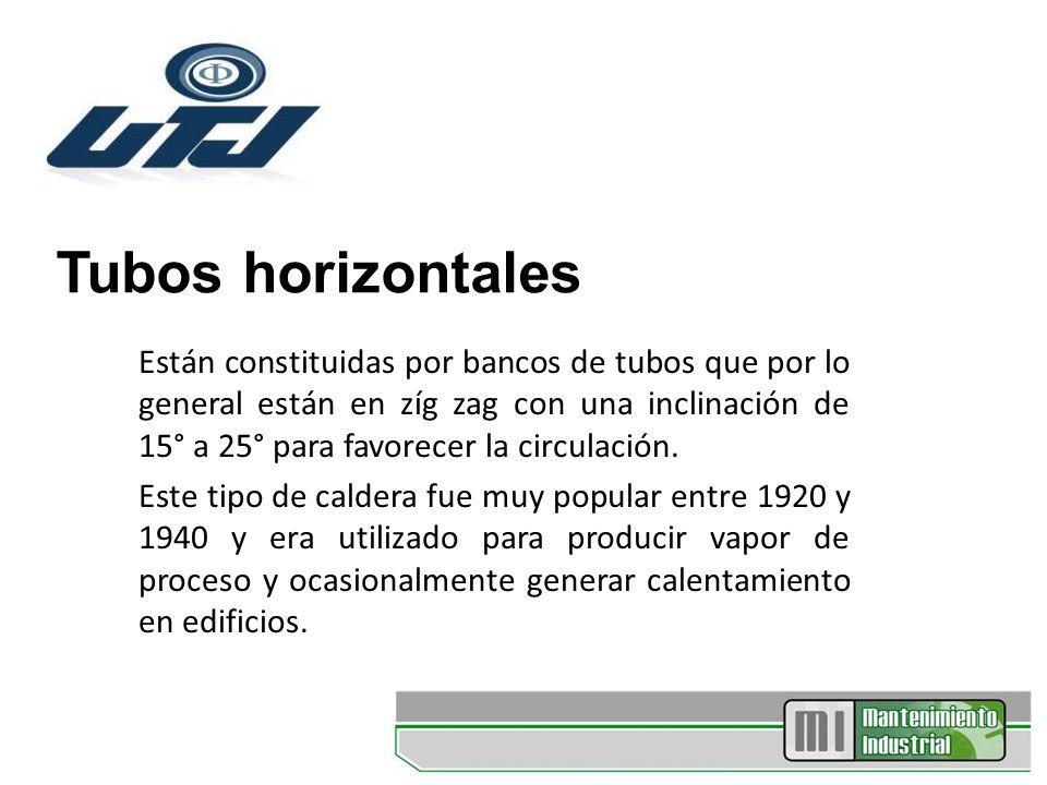 Tubos horizontales Están constituidas por bancos de tubos que por lo general están en zíg zag con una inclinación de 15° a 25° para favorecer la circu