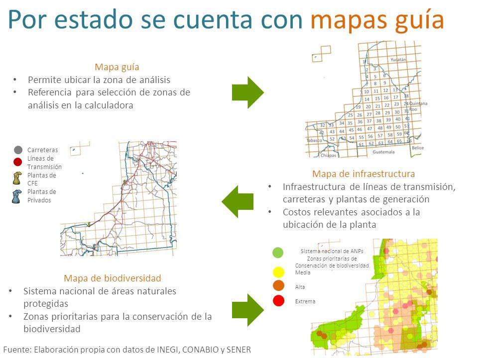 Despliegue de resultados de análisis local y estatal… ANALISIS LOCAL Muestra un análisis de sensibilidad con los vecinos Mapa guía de localización Resultados desglosados por tipo de impacto ANALISIS ESTATAL Resultados de menor a mayor Costos anuales totales, externalidades por unidad de energía y su valor presente Principales estadísticas: mínimo, máximo, media y desviación estándar Centro (Zona) Norte (N) Noreste (NE) Este (E) Sureste (SE) Sur (S) Suroeste (SO) Oeste (O) Noroeste (NO) Cuadro Externalidades pesos/MwhVP (pesos/Mwh) 13$836.96$23,286.13 21$846.79$23,548.37 27$857.80$23,853.76 26$863.50$24,011.78 15$869.10$24,192.83 20$877.43$24,398.02 2$885.67$24,617.85 19$899.91$25,021.20 25$900.39$25,034.58 17$929.05$25,855.07 11$930.60$25,863.59 1$973.60$27,055.92 12$980.17$27,238.04