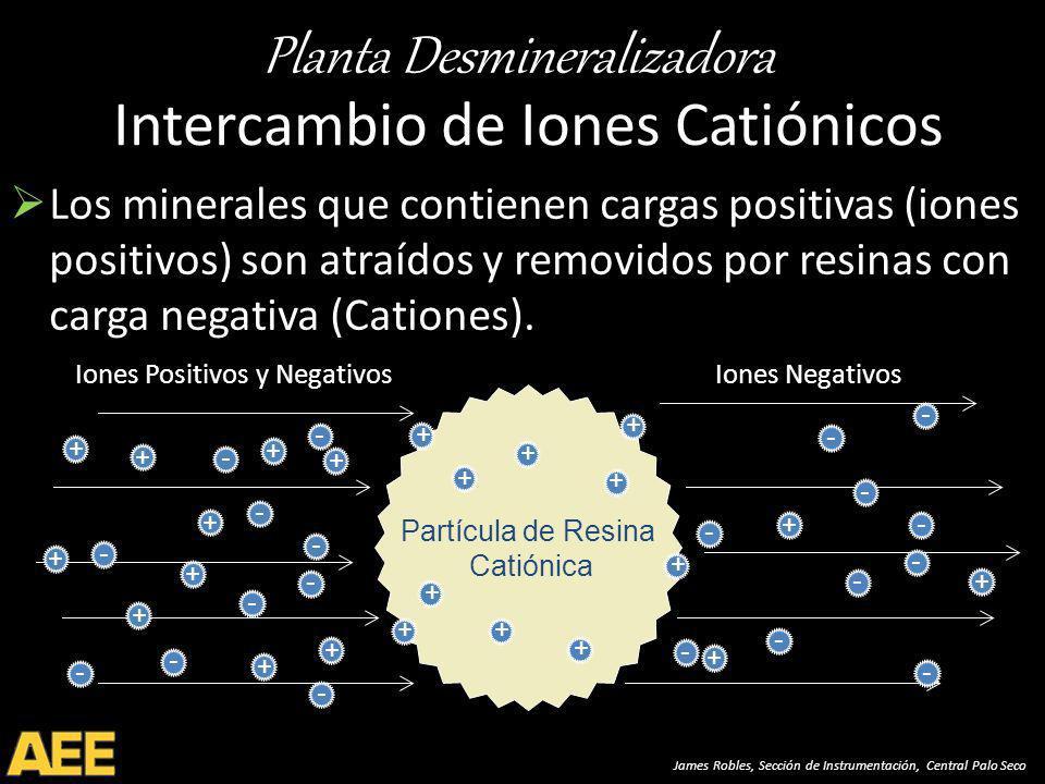 Planta Desmineralizadora James Robles, Sección de Instrumentación, Central Palo Seco Intercambio de Iones Catiónicos Los minerales que contienen cargas positivas (iones positivos) son atraídos y removidos por resinas con carga negativa (Cationes).