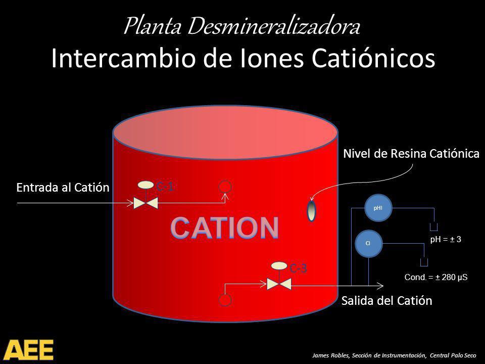 Planta Desmineralizadora James Robles, Sección de Instrumentación, Central Palo Seco Intercambio de Iones Catiónicos C-1 Entrada al Catión Salida del Catión C-3 Nivel de Resina Catiónica CI pHI pH = ± 3 Cond.