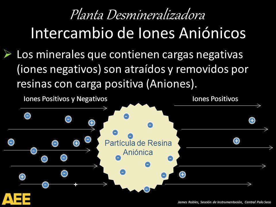 Planta Desmineralizadora James Robles, Sección de Instrumentación, Central Palo Seco Partícula de Resina Aniónica + Intercambio de Iones Aniónicos Los minerales que contienen cargas negativas (iones negativos) son atraídos y removidos por resinas con carga positiva (Aniones).