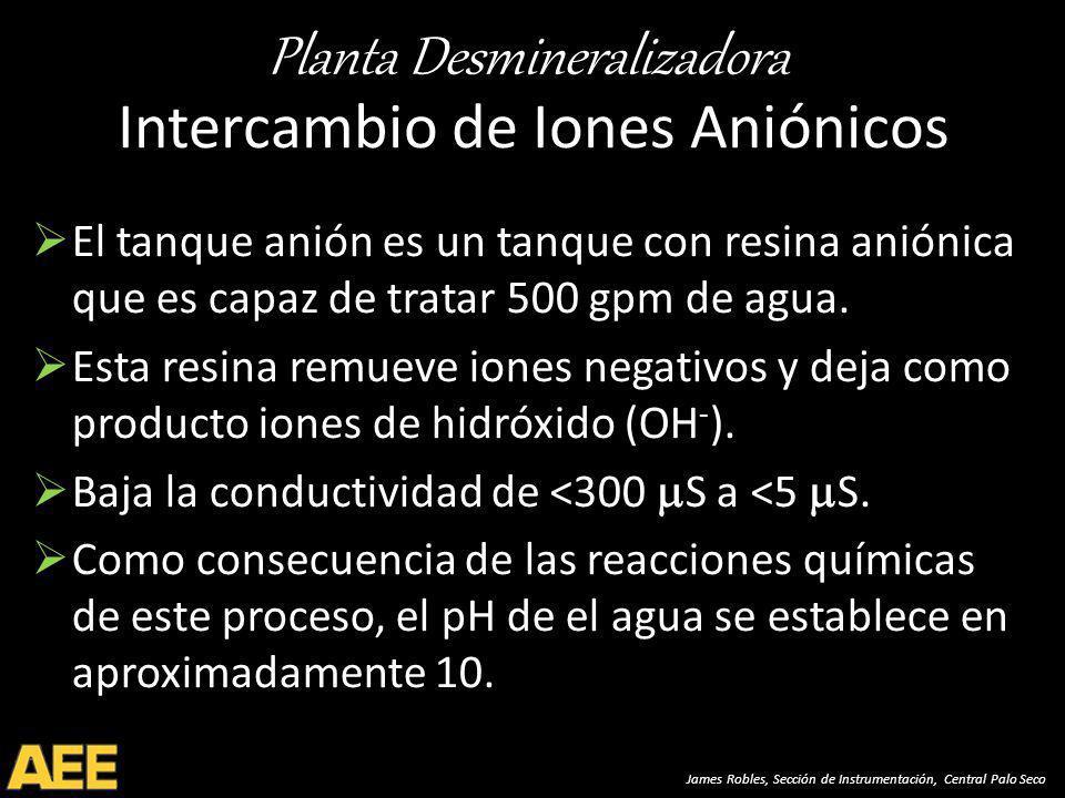 Planta Desmineralizadora James Robles, Sección de Instrumentación, Central Palo Seco Intercambio de Iones Aniónicos El tanque anión es un tanque con resina aniónica que es capaz de tratar 500 gpm de agua.