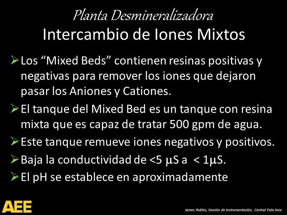 Planta Desmineralizadora James Robles, Sección de Instrumentación, Central Palo Seco Intercambio de Iones Mixtos Los Mixed Beds contienen resinas positivas y negativas para remover los iones que dejaron pasar los Aniones y Cationes.