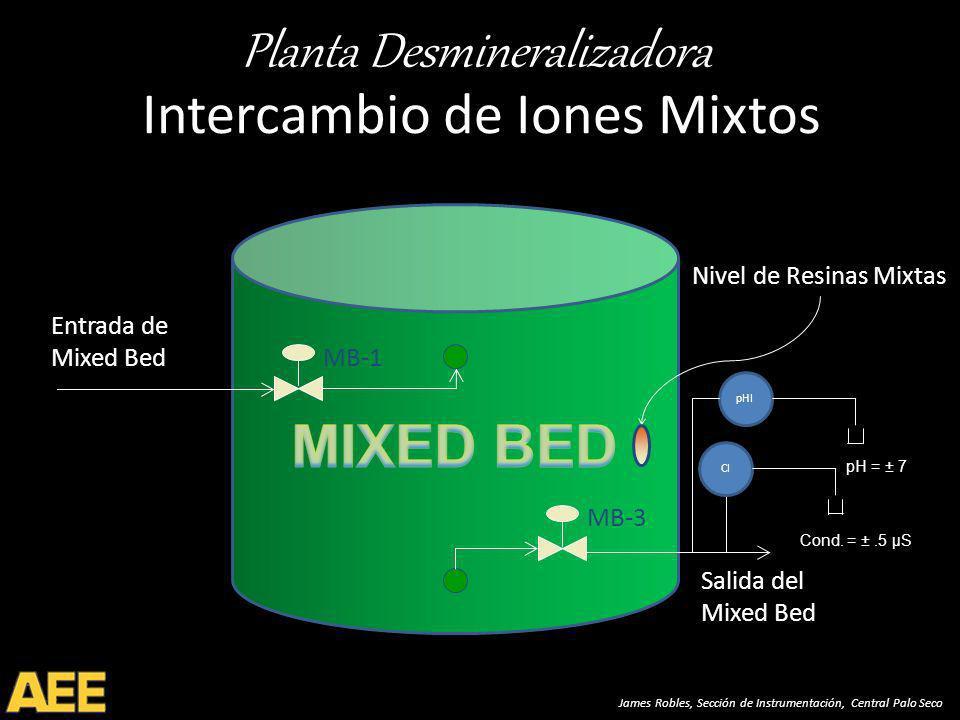 Planta Desmineralizadora James Robles, Sección de Instrumentación, Central Palo Seco Intercambio de Iones Mixtos MB-1 Entrada de Mixed Bed Salida del Mixed Bed MB-3 Nivel de Resinas Mixtas CI pHI pH = ± 7 Cond.