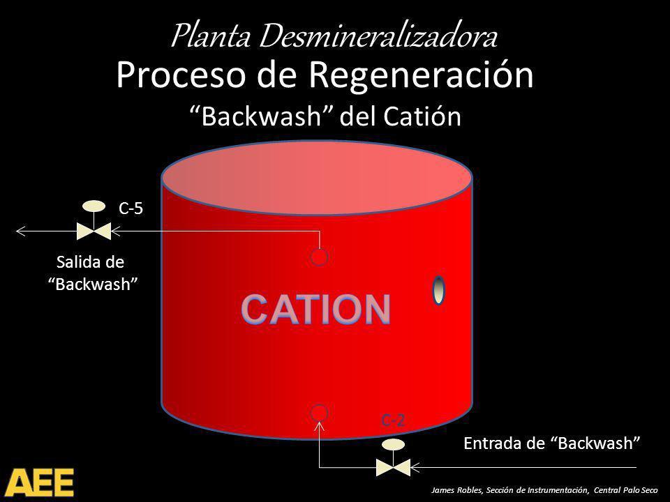Planta Desmineralizadora James Robles, Sección de Instrumentación, Central Palo Seco Proceso de Regeneración Backwash del Catión Salida de Backwash Entrada de Backwash C-2 C-5