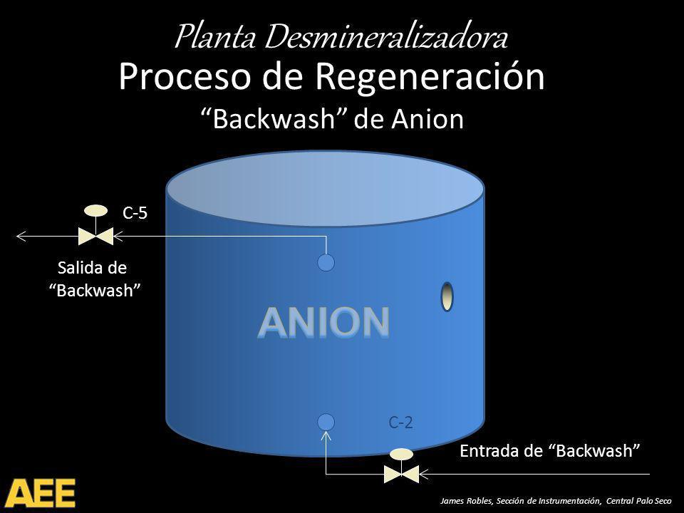 Planta Desmineralizadora James Robles, Sección de Instrumentación, Central Palo Seco Proceso de Regeneración Backwash de Anion C-5 Salida de Backwash Entrada de Backwash C-2