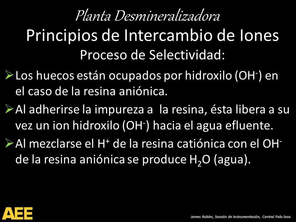 Planta Desmineralizadora James Robles, Sección de Instrumentación, Central Palo Seco Principios de Intercambio de Iones Proceso de Selectividad: Los huecos están ocupados por hidroxilo (OH - ) en el caso de la resina aniónica.