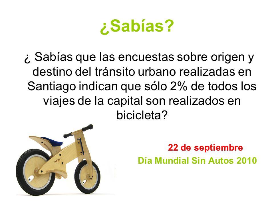 ¿Sabías? ¿ Sabías que las encuestas sobre origen y destino del tránsito urbano realizadas en Santiago indican que sólo 2% de todos los viajes de la ca