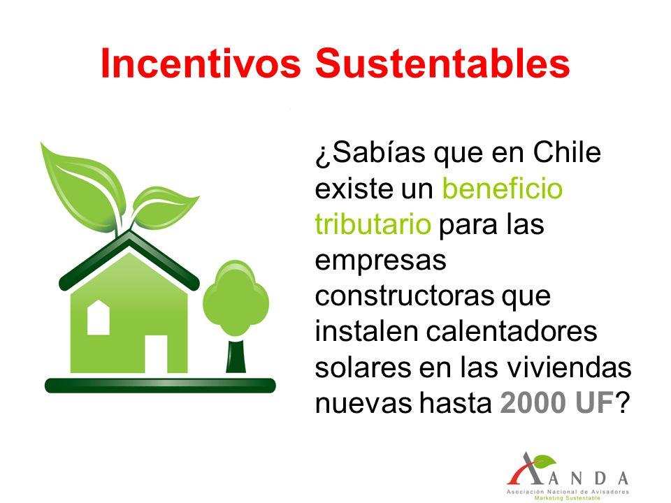 Incentivos Sustentables ¿Sabías que en Chile existe un beneficio tributario para las empresas constructoras que instalen calentadores solares en las viviendas nuevas hasta 2000 UF?