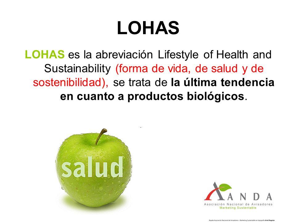 LOHAS LOHAS es la abreviación Lifestyle of Health and Sustainability (forma de vida, de salud y de sostenibilidad), se trata de la última tendencia en cuanto a productos biológicos.