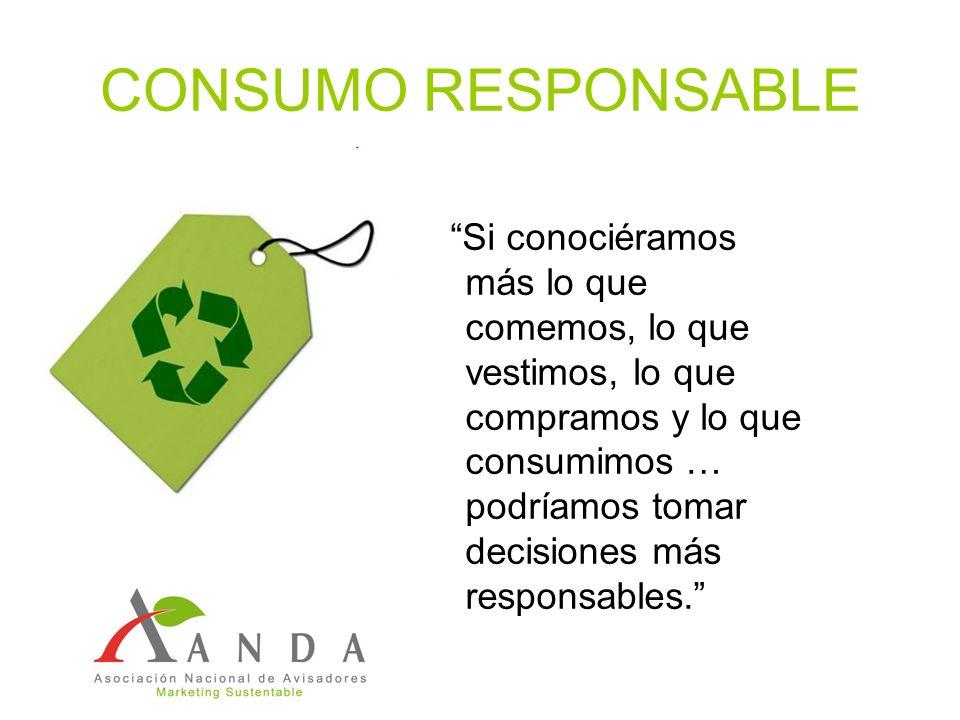 CONSUMO RESPONSABLE Si conociéramos más lo que comemos, lo que vestimos, lo que compramos y lo que consumimos … podríamos tomar decisiones más respons